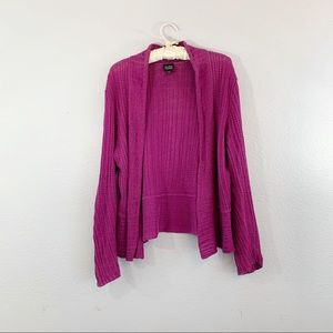 Eileen Fisher Purple Linen Open Cardigan
